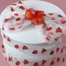 Lady Bug Print Sheer Ribbons 5/8 inches wide - price for 2 yards
