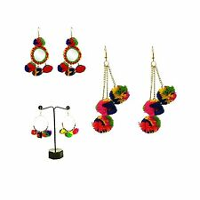 Indian Women 3 Pair Earrings Gold Plated Pom Pom Jewelry Whole sale Costume