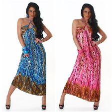 Neckholder Bollywood Sommer Kleid Maxikleid gr S,M,L -36,38,40 türkis pink neu