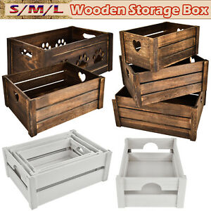 Plain Wooden Slatted Fruit Crates Containers in 3 Sizes /Apple Storage Crate Box