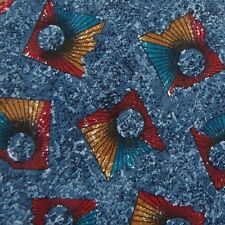 Secours Made In Italy Blue Red Abstract Silk Narrow Neck Tie Excellent #Z1-385