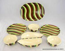 Lot of 7 Pieces Purinton Saraband HP Divided Dish Plates Bowls Platter Brown