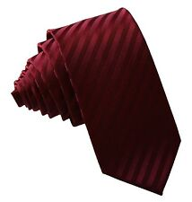 "New Polyester Woven Men's 2.5"" slim necktie Wedding Stripes Burgundy Prom"