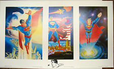 SUPERMAN MATCHED SET LTD ED PP 8/20 LITHOS (3) SIGNED Swan Lopez w Perez SKETCH
