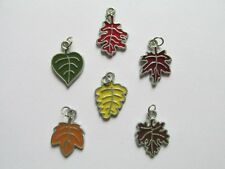 36 Enamel FALL LEAF CHARMS autumn fall leaves FREE S/H jewelry charm
