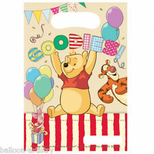 6 Disney Winnie The Pooh Red Stripe Party Gift Favour Plastic Loot Bags