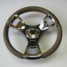 New OEM Gussi Boat Steering Wheel M13 Beige Soft Touch Rim Chromed ABS inserts