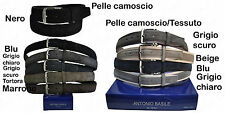 Cintura da uomo in pelle camoscio blu geige grigia sportive 110 115 120 125 130