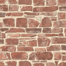 RED STONE WALL WALLPAPER - RASCH 265613 - BRICK ROOM DECOR
