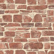 Rosso Muro Di Pietra Carta Da Parati-Rasch 265613-Brick Room Decor