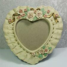 "Hearts Roses Frame 4.5"" x 4.75"" Photo Size Shabby Lace Ribbon Flowers Cottage"