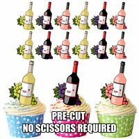 PRECUT Wine Bottles Edible Cupcake Toppers Decorations Adult Party Birthday