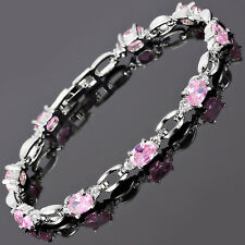 Charming! Pink Sapphire White Gold Gp Tennis Bracelet Jewelry New