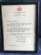 More details for ruth fermoy lady in waiting to queen mother.signed letter.clarence house. framed