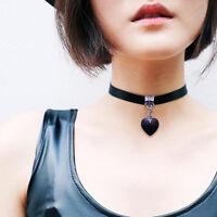 2pcs Vintage Black Velvet Choker Crystal Heart Pendant Gothic Handmade Necklace
