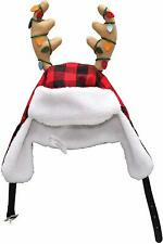 "Unisex Youth Christmas Hat 16"" Red and Black Plaid Sherpa Ear Flaps/ Antlers Nwt"