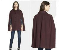 M Designer Nordstrom Helene Berman  Burgundy Wool Cashmere Cape Poncho Coat