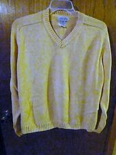 Woman's Authentic St John's Bay 100% Cotton Yellow V-Neck Sweater Size X-Large