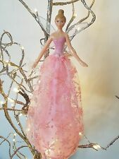 SALE - GISELA GRAHAM PINK SNOWFLAKE RESIN/FABRIC FAIRY CHRISTMAS TREE TOPPER
