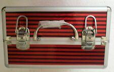 Multifunction Travel Red Aluminum Pro Handle Makeup Organizer Cosmetic Case
