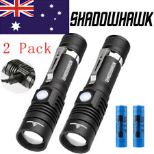 2021 2X 50000lm Shadowhawk T6 LED Flashlight USB Rechargeable Torch + 2x Battery