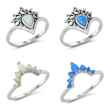 """Sterling Silver 925 LAB OPAL """"CROWN"""" DESIGN PROMISE RINGS SIZE 5-10"""