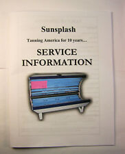 Sunsplash Tanning Bed Service Manual Full Size PRINTED Manual