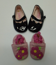 Carters Baby Girls 0-6M Pink Crib Shoes & 6-9M Black Dress Excellent Condition