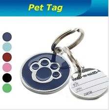 Personalised Engraved  Paw Print Tag Dog Cat Pet ID Tags Reflective