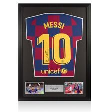 Framed Lionel Messi Signed FC Barcelona 2019-20 Home Shirt Autograph Jersey