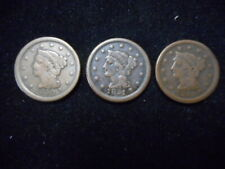 !850 - 1851 - 1852 - Braided Hair Large Cents - Original Brn. Coins. Must See.