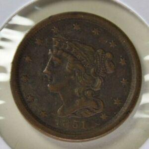 Braided Hair Half Cent 1851 VF