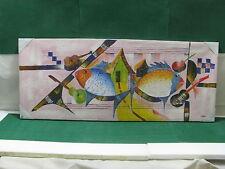 """Lotto 1 - QUADRO  olio su tela con particolari in rilievo """"Pesci""""  126 x 52"""