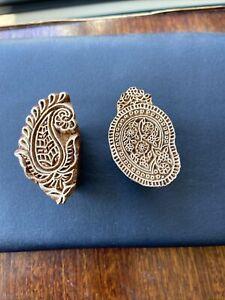 Pair Of Small Wooden Indian Paper Material Printing Blocks