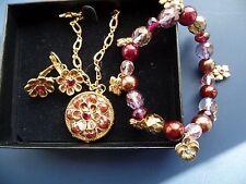Joan River Enamel 3 Piece Flower/Pansy Bracelet,Necklace, And Eearring Set