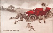 LOOKING FOR TROUBLE~MEN UNDER CAR~WOMAN IN SEAT~SHEAHANS AUTOMOBILE POSTCARD