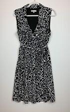 Sandra Darren Women's 14 Black and White Dress Ruffles Wrap-look, Sleeveless EUC