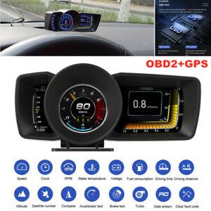 3.5'' Double Screen Smart OBD2+GPS Gauge HUD Head-Up Digital Display Speedometer