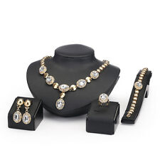 Wedding Jewelry Set Gold Bridal Jewellery Crystal Necklace Earring Bracelet Ring
