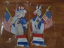 "Vintage 1991 Paper Fantasies Political Honeycombs Patriotic  8"" 2 pc Set NOS"