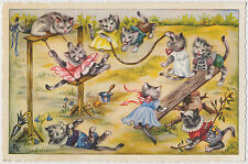 Anthropomorphic Dressed Cats - Playing on the Playground