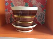 Vintage Dragon Pottery Rhayader Planter And Saucer, Banded Brown And Yellow