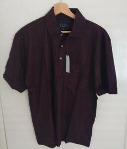 BNWT Men's Luxury Burgundy Dunhill Polo Shirt Size Medium