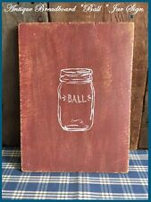 "Antique Primitive Wood Bread Board Barn Red Paint with paint of a  ""Ball Jar"""
