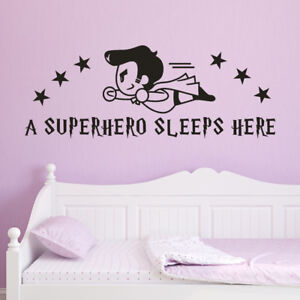 A Superhero Sleeps Here Wall Sticker Decals Children's Room Home Decoration Art