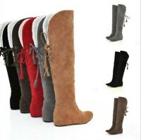 Ladies Hidden Wedge Heel Women's Knee High Boots Winter Warm Back Lace Up Shoes
