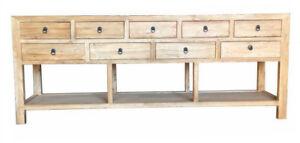 Hamptons Recycled long narrow elmwood  Console Sideboard buffet storage 230cm