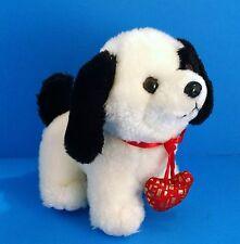 "Chinese Dragon White&Black Puppy Dog Red Love Heart Collar 6"" Plush Valentines"