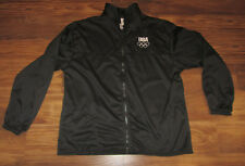 USA Olympic Mens Track Jacket, Full-Zip, Black, Official, Size XL, EUC