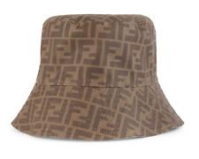 Fendi Zucca Brown FF Monogram Logo Reversible Beige Canvas Bucket Hat M Medium